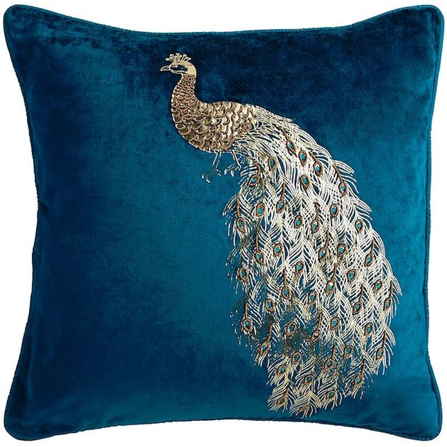 velvet beaded peacock pillow