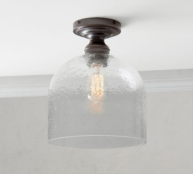 flush mount with clear textured glass shade
