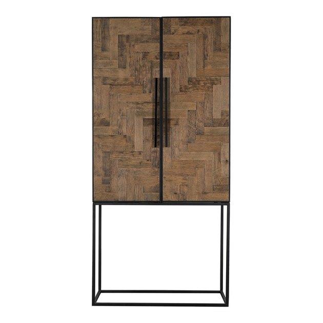 reclaimed oak herringbone freestanding kitchen cabinet