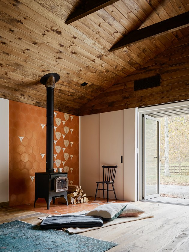 renovated barn with wood stove fireplace