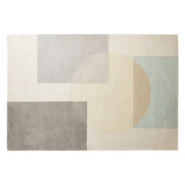 neutral colorblock rug