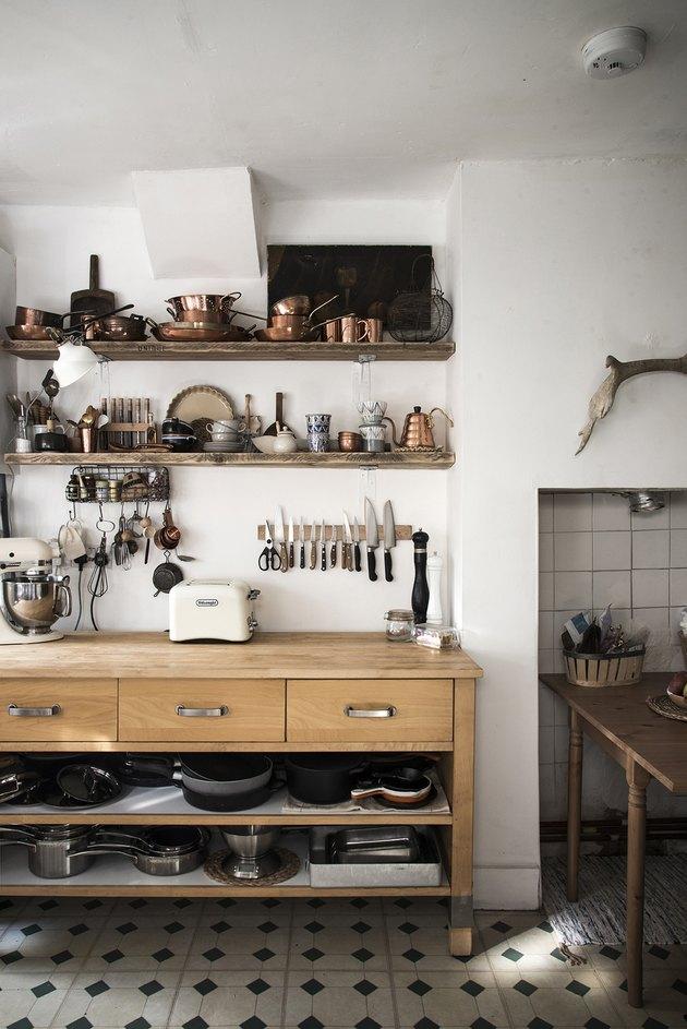 freestanding kitchen cabinet in neutral vintage kitchen
