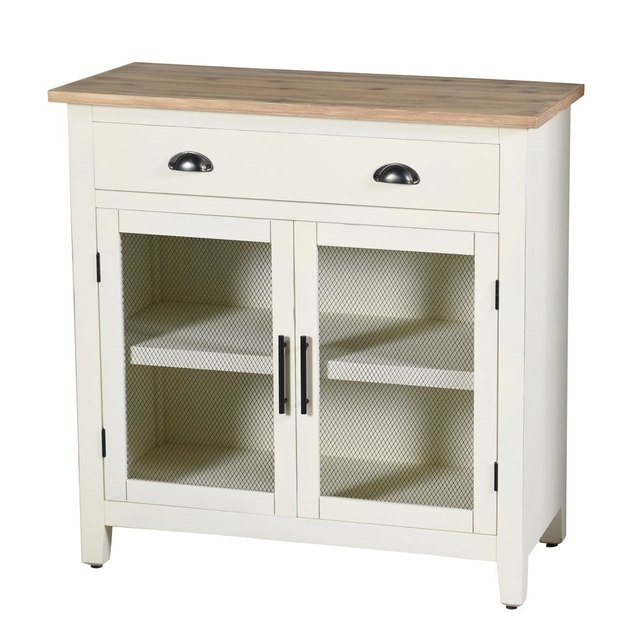 farmhouse white and natural freestanding kitchen cabinet with shelf