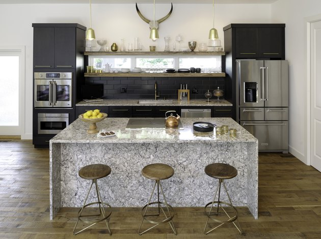 black slate backsplash in modern farmhouse kitchen