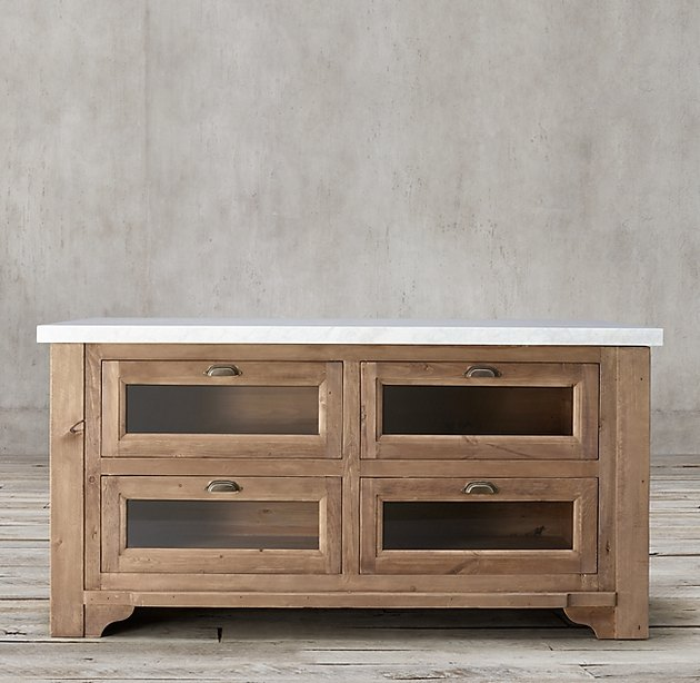 wood and marble freestanding kitchen cabinet from Restoration Hardware