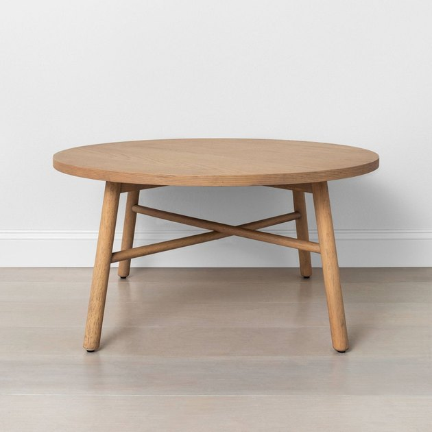 light wood round coffee table