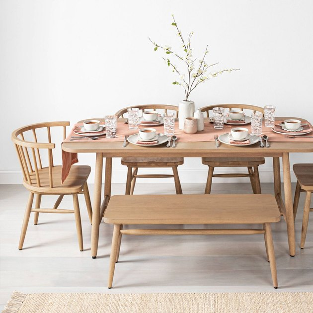light wood dining table with bench