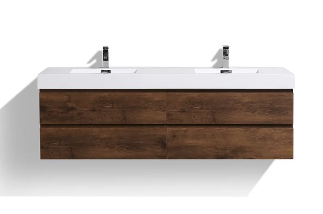 Modern floating wood bathroom vanity with white top and two sinks