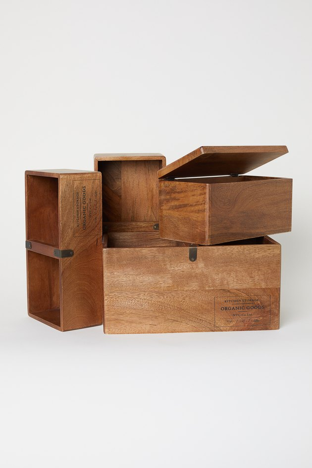 Wooden storage boxes from H&M Home's 2020 collection