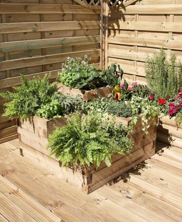 Low on space? Make a container garden from reclaimed wood.