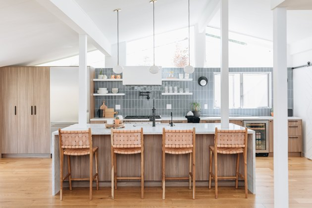 Gray Backsplash Kitchen Idea by Studio Matsalla