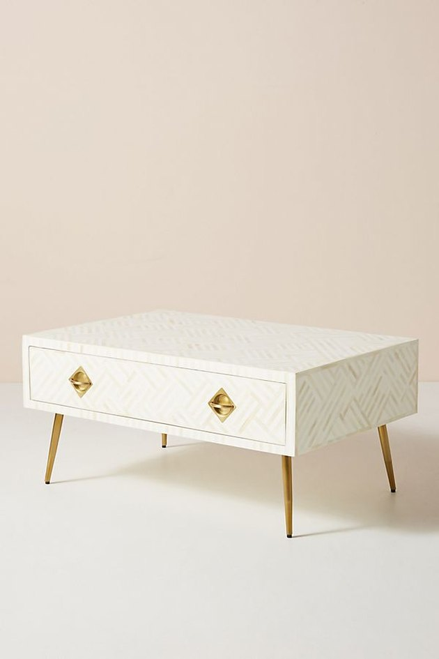 white pattern coffee table