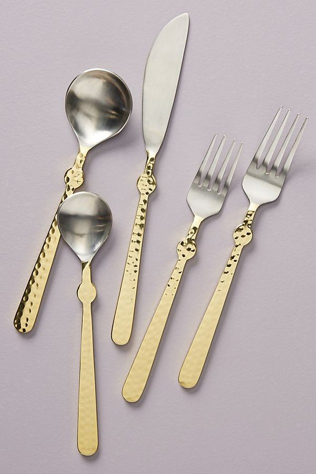 gold and silver flatware