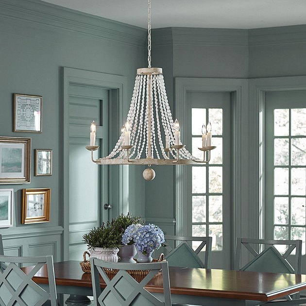 coastal dining room lighting with Ballard Designs Casa Florentina Lucca 8-Light Wood Bead Chandelier