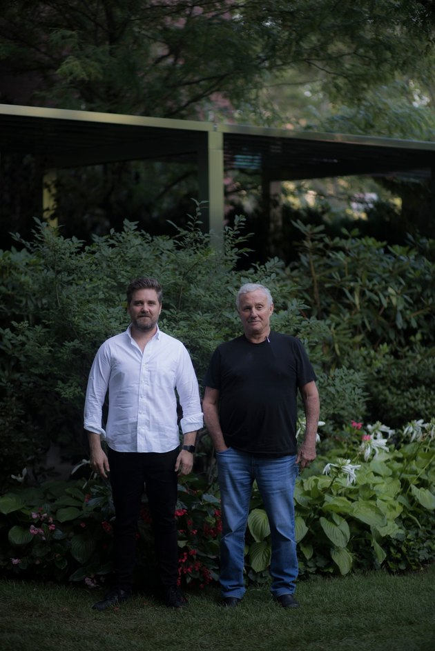 John Fraser, left, and the hotelier Ian Schrager at the Public hotel in New York.