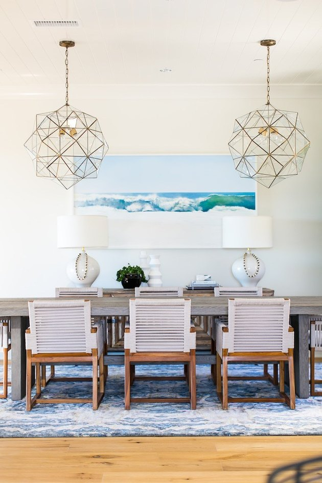 coastal dining room lighting with glass geometric pendants