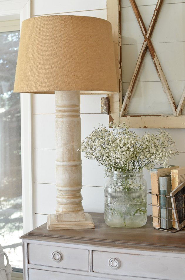 DIY farmhouse idea with table lamp with white base alongside farmhouse decor ideas