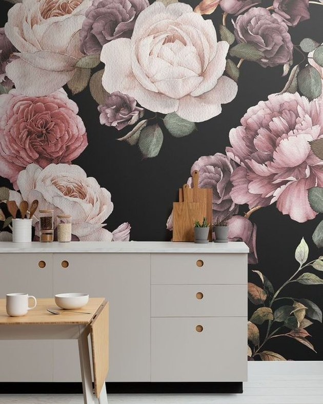 kitchen wallpaper backsplash idea with oversize floral mural