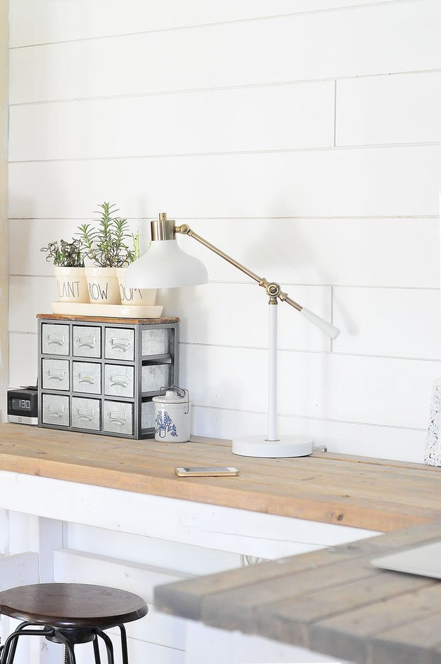 farmhouse DIY idea with white shiplap wall in farmhouse home office