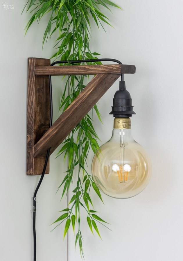 farmhouse DIY idea with corbel sconce with Edison lightbulb