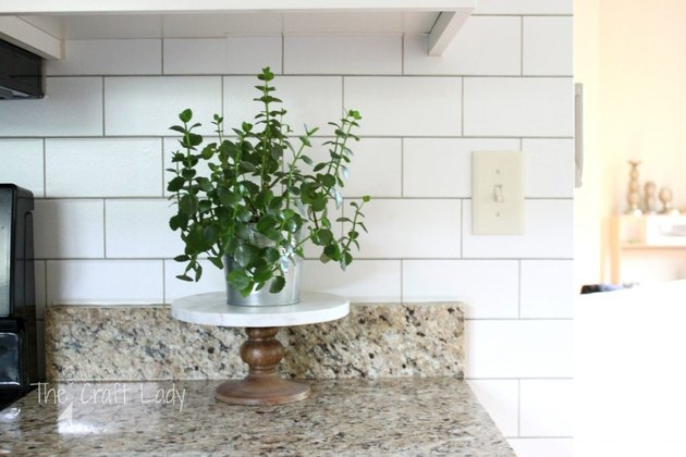 Subway Tile Look-Alike Kitchen Wallpaper backsplash idea with granite countertop