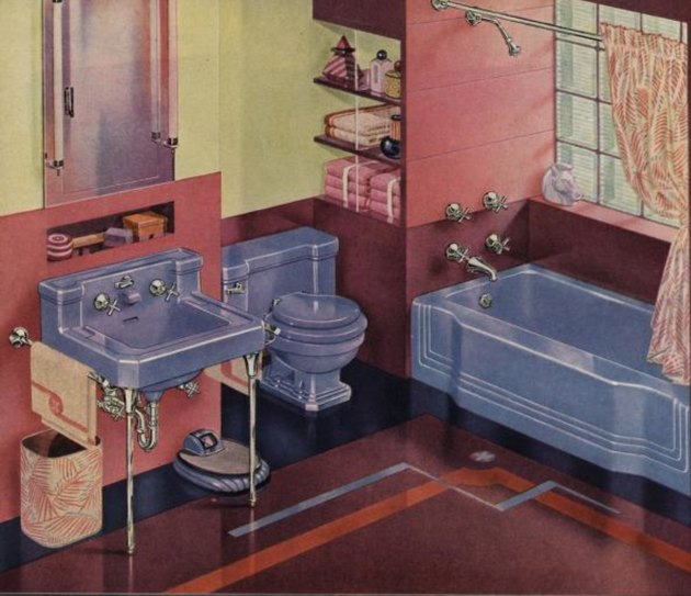 Bathroom image (with bathtub shower) from American Radiator & Standard Sanitary Corp. catalog, 1945.