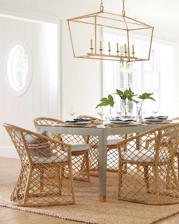 coastal dining room lighting with long gold lantern pendant serena and lily