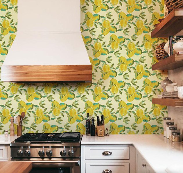 Lemon kitchen wallpaper backsplash idea by Wallternatives