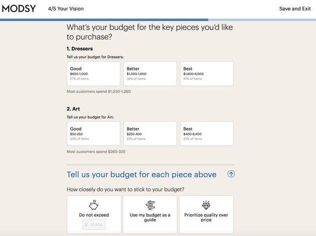 modsy budget