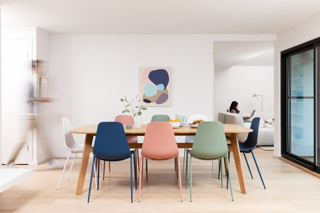 colorful chairs around dining table