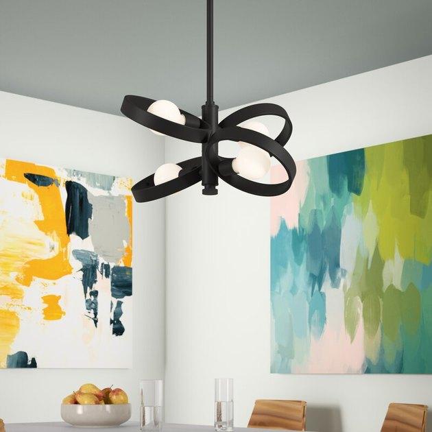 metal ceiling light with open sputnik shade