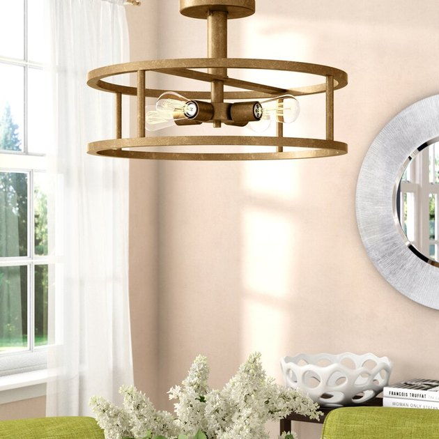 dining room drum ceiling light with open metal shade