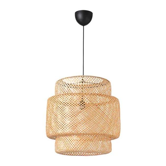 Bamboo lattice pendant light with black base
