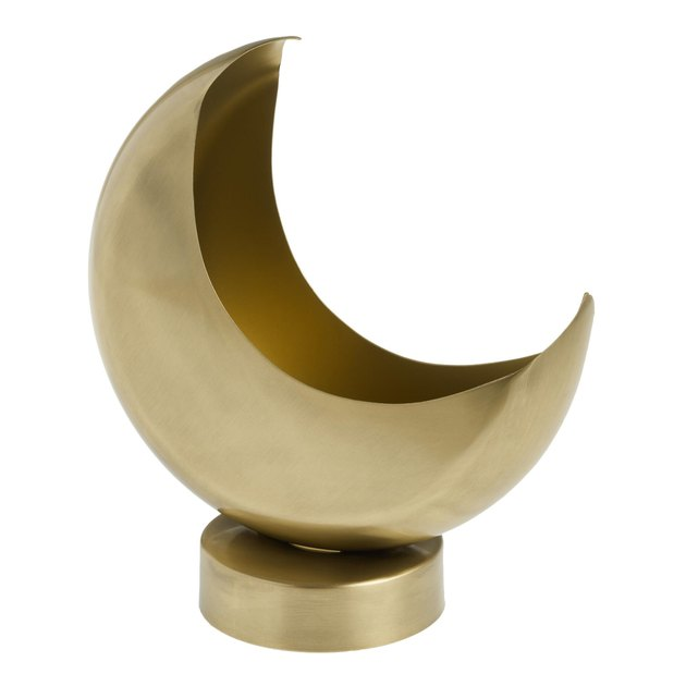 brass gold crescent moon planter
