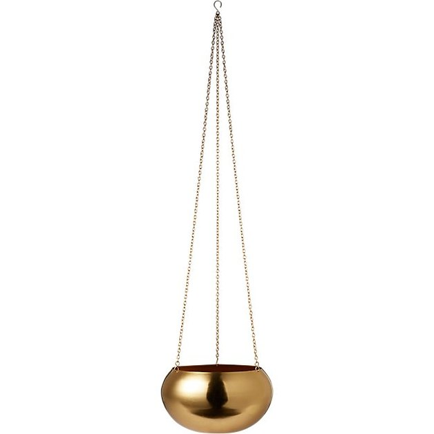 round gold hanging planter