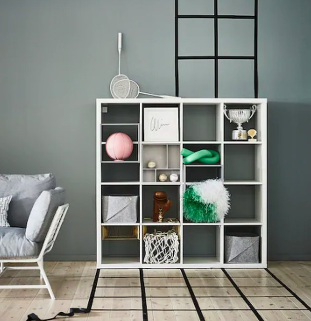 white bookcase in living room space