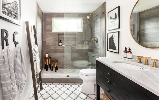 Farmhouse Shower Ideas Juxtaposed Interiors