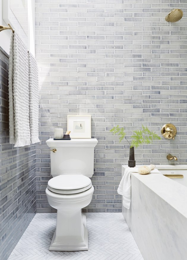 gray shower tile ideas emily henderson