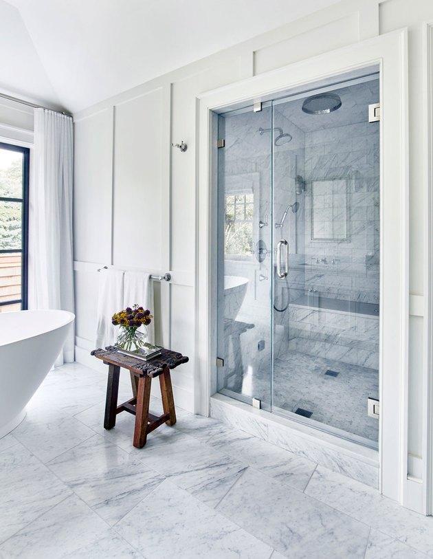 marble tile shower ceiling