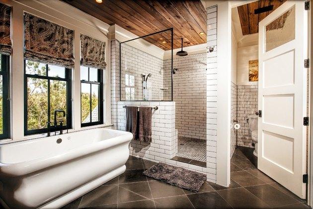 wood shower ceiling