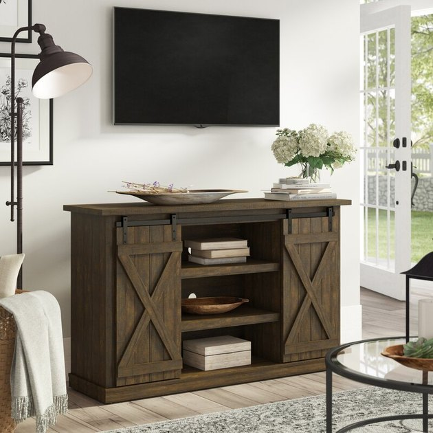 farmhouse media console with sliding barn doors