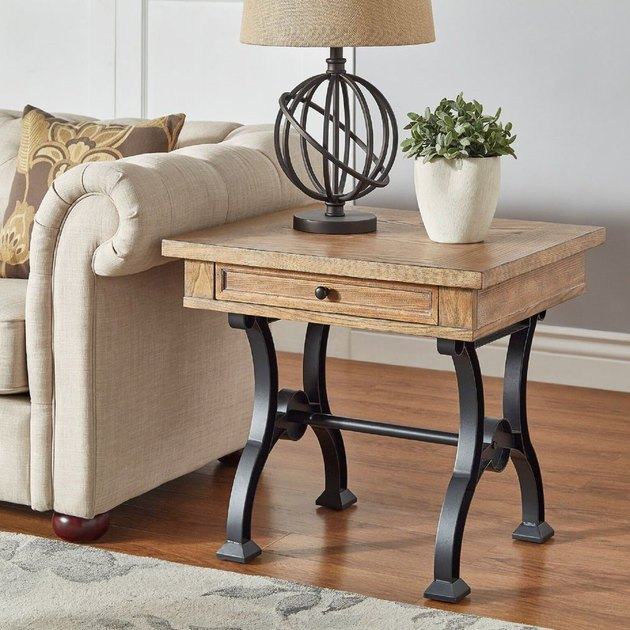 trestle side table with metal legs