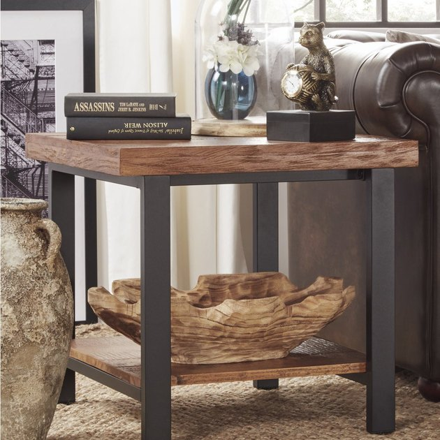 reclaimed wood side table with planked top
