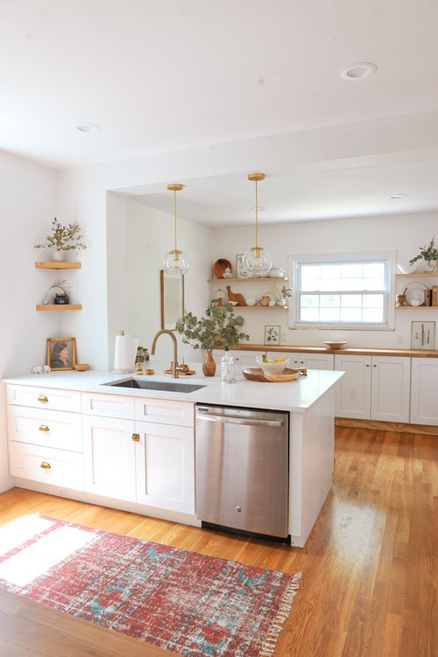 Craftsman kitchen with wood flooring and open shelving