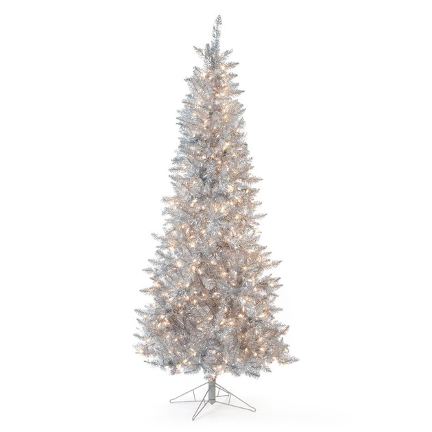 silver pre-lit Christmas tree