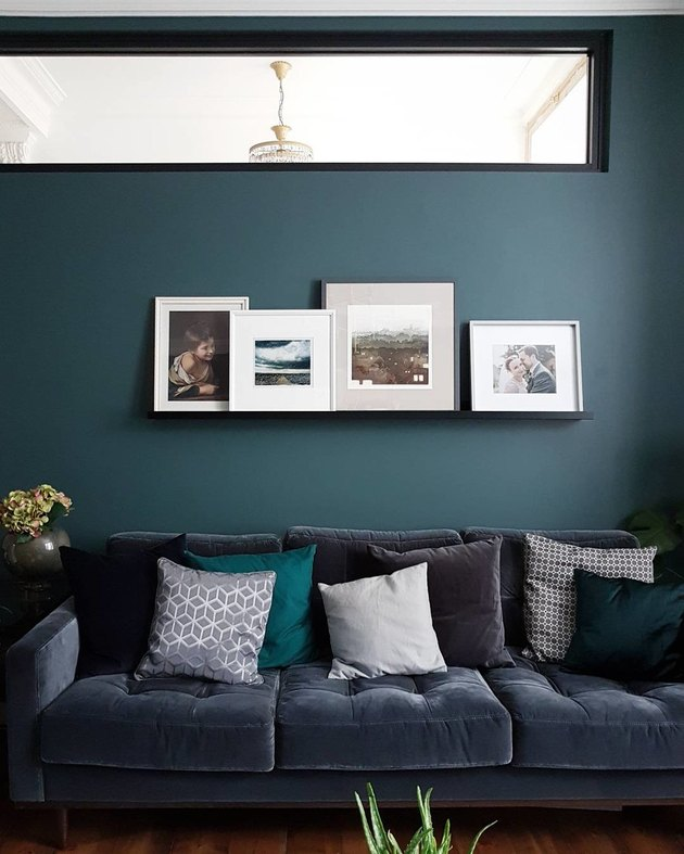 Modern blue living room in Farrow & Balls Inchyra Blue