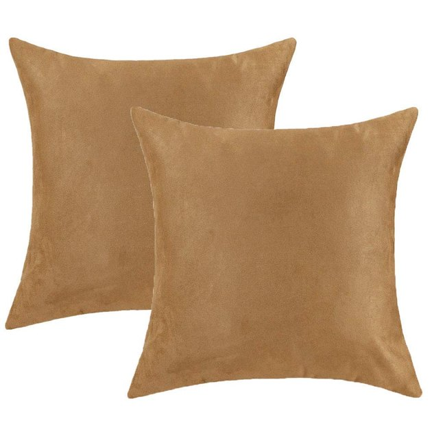 Two tan faux-suede pillow covers