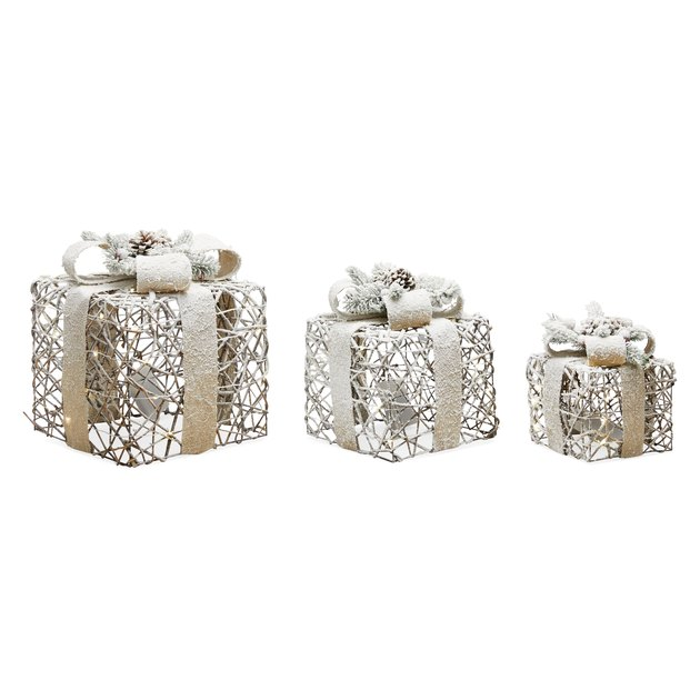 decorative gift package set with faux snow