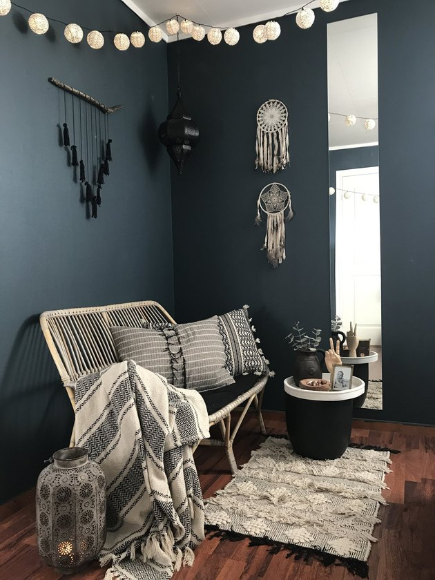 Boho blue living room with texture