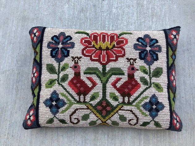 Vintage Embroidered Scandinavian Folk Art Pillow, $35